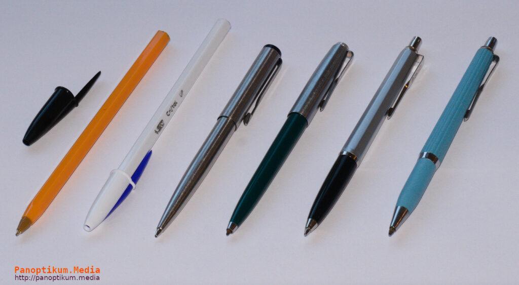 Długopisy (biro). Od lewej: dwa Bic Cristal, Parker Vector, Zenith 5, Zenith 7, Zenith 10.